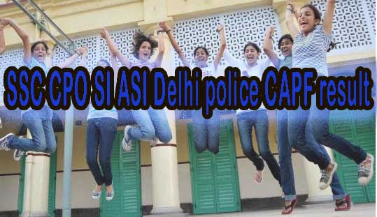 SSC Delhi Police ASI SI Exam Results