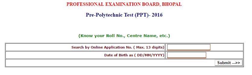 MP PPT Exam admit card 2016