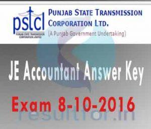 Answer Key of PSTCL 2016, PSTCL JE Answer Key 2016, PSTET JE Answer key 2016, Punjab. PSTCL Accountant Answer key with solution sheet 2016, Punjab. PSTCL Accountant Answer key 2016,