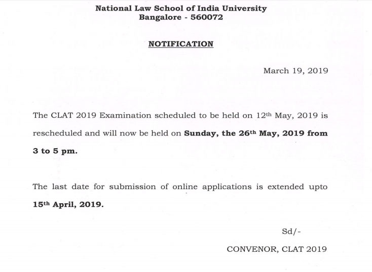 CLAT 2019 Date Extended