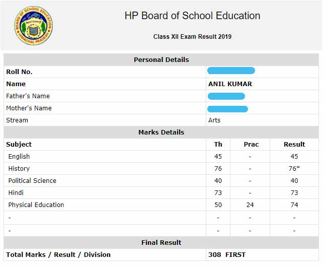 hp bose 12th result web page