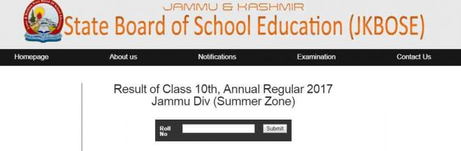 resulit of class 10th JKBOse