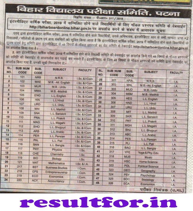 Bihar Board Inter Exam 2019 Model Question Update
