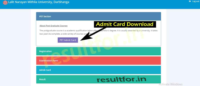 lnmu pget admit card download