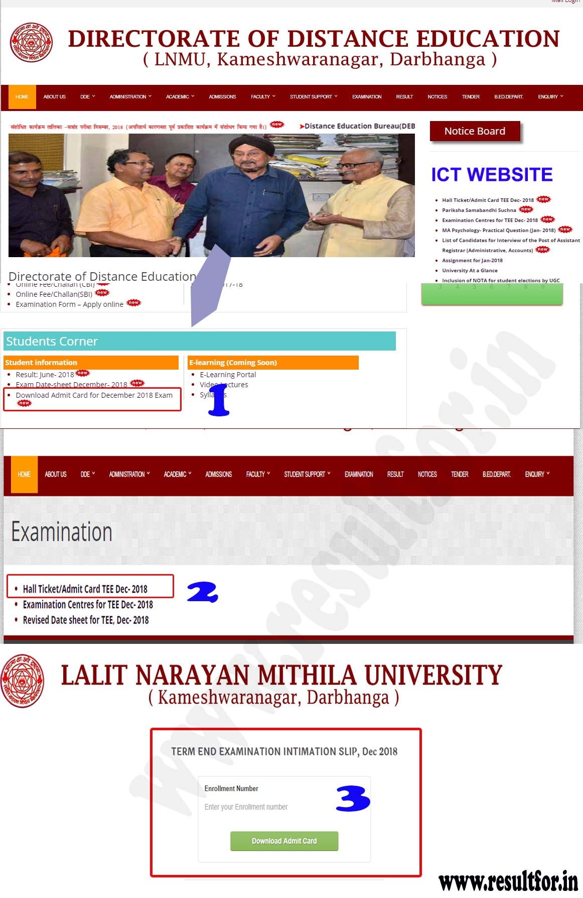 lnmu distance exam dec admit card available to download