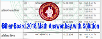 Bihar board 10 plus two mathematics answer key, How to find 12th Bihar board exam maths answer key, Bihar Board Math Exam Answer Sheet 2018,