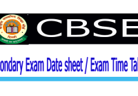 CBSE 10th Exam Date sheet