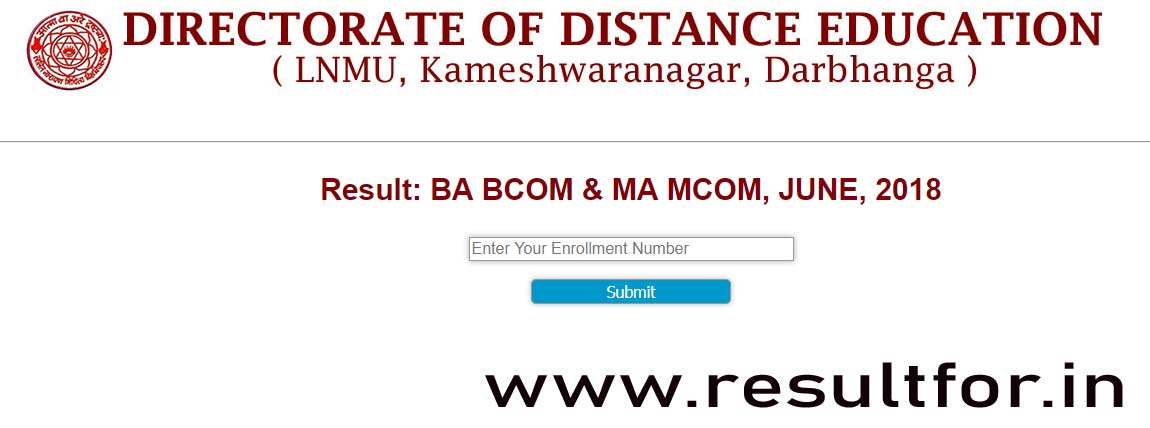 mithila university distance mode exam result june 2018