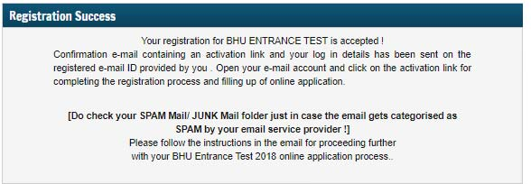bhu set 2018 login conformation message