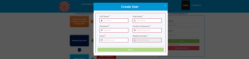 create user id and password by provide this infomration