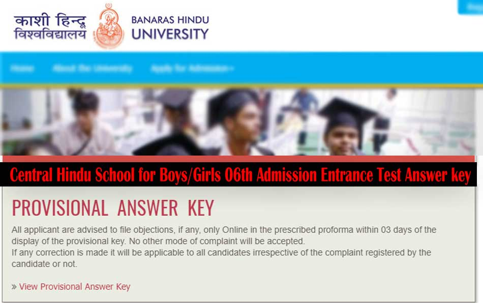 Banaras School Class 6th Entrance Test Answer key, CHS 6th Answer key, CHS SET 2018 Answer key online , BHU CHS SET Answer key of all set, Banaras Hindu School Class 6th SET Answer key 2018, Answer key of BHU CHS SET 2018 , Banaras Hindu School for Girls Class 6th Entrance Test Provisional Answer key , CHS Class 6th Entrance Test Provisional Answer key, Step to Download CHS SET VIth Admission Test Exam Answer key ,