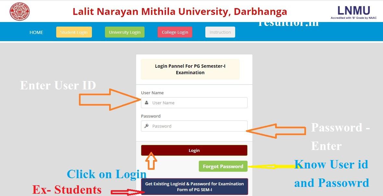 LNMU PG Exam Form Apply  1st Semester Login