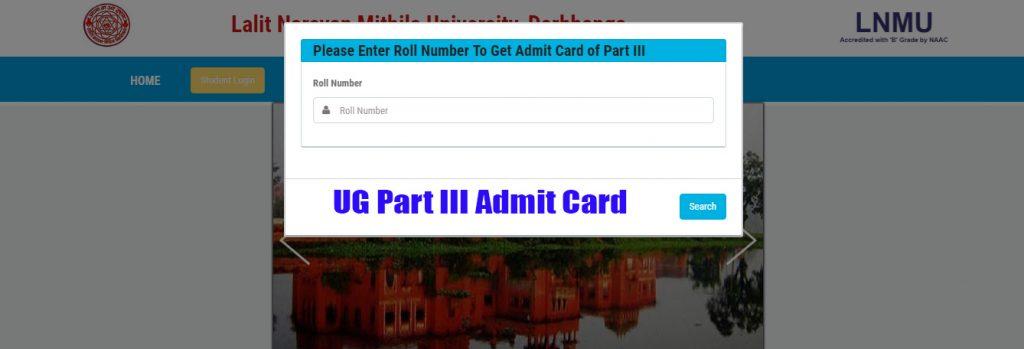 LNMU UG Part III Exam Admit Card