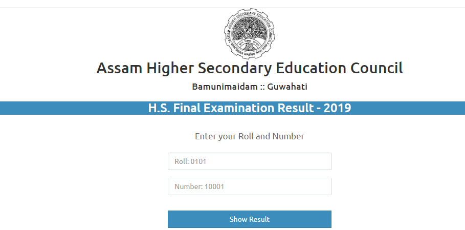 ahsec hs final year result 2019