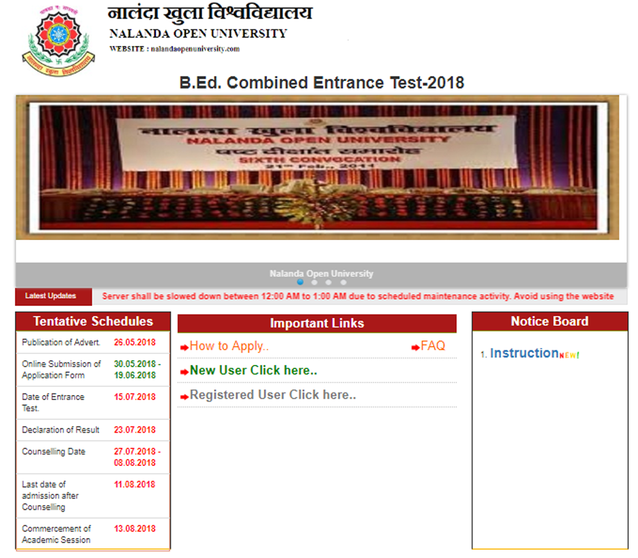 Bihar NOU B.ed Admission Entrance Test Application Form 2018