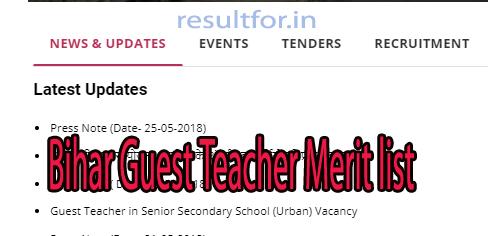 Bihar Guest Teacher Merit List 2018 Download   resultfor in