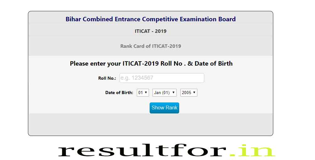 bihar bcece iticat rank card check 2019