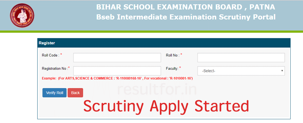 BSEB 12th Result Scrutiny Apply Stared 2019>> Apply Here   resultfor in