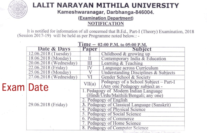 Mithila University B.Ed Exam Date & Program,  Mithila University B.Ed Part one 2017-19,  LNMU B.Ed Exam Program / Center list College wise , LNMU Centre List  B.Ed. Part - I (Theory) Examination 2018,  B.Ed. Part - I (Theory) Examination 2018,  LNMU B.Ed, B.Ed part I exam, B.Ed part I exam date sheet, Mithila University B.Ed Exam DAte sheet,