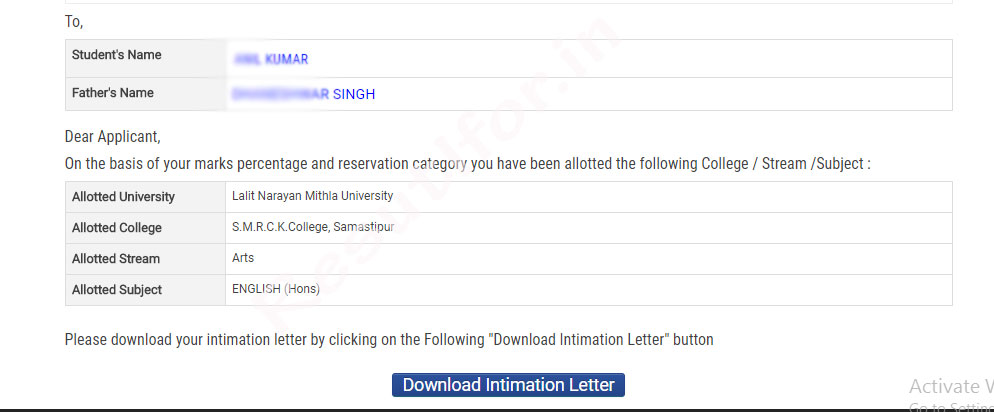 bihar ba bsc bcom admission intimation letter