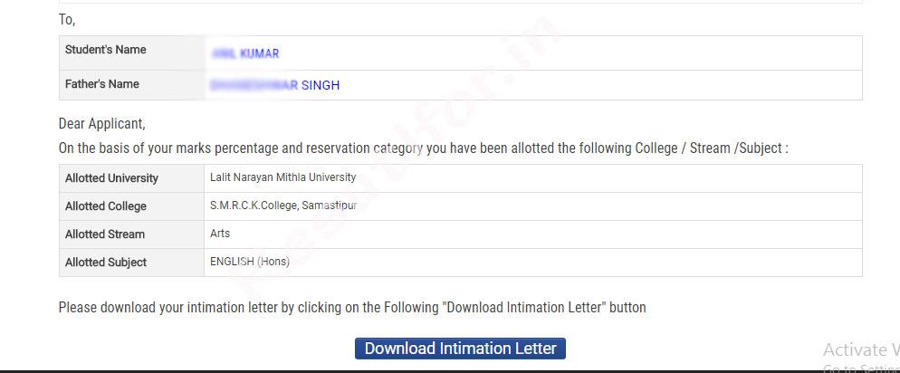bihar ba bsc bcom admission intimation letter
