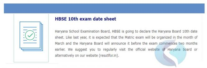 Haryana Board 10th exam date sheet 2020
