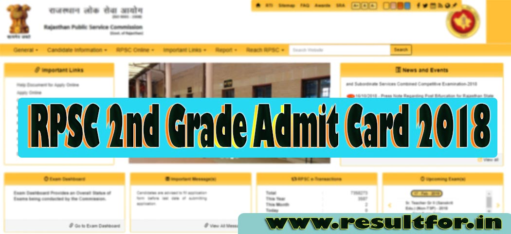 Rajasthan Teacher Vacancy Prelims Test Admit Card Status , RPSC 2nd Grade Admit Card 2018 Status, Rajasthan Second Grade Teacher Admit Card 2018, RPSC 2nd Grade Admit Card 2018 Download, RPSC 2nd Grade Vacancy Exam Admit Card Subject Wise Status, How to Download Admit Card of RPSC IInd Group Prelims Exam 2018, Procedure to Download RPSC 2nd Grade Teacher Admit Card 2018, Rajasthan PSC IInd Grade Teacher Vacancy Detail, RPSC 2nd Grade Admit Card 2018, Rajasthan PSC Application Status, RPSC 2nd Grade Admit Card Online Download 2018,