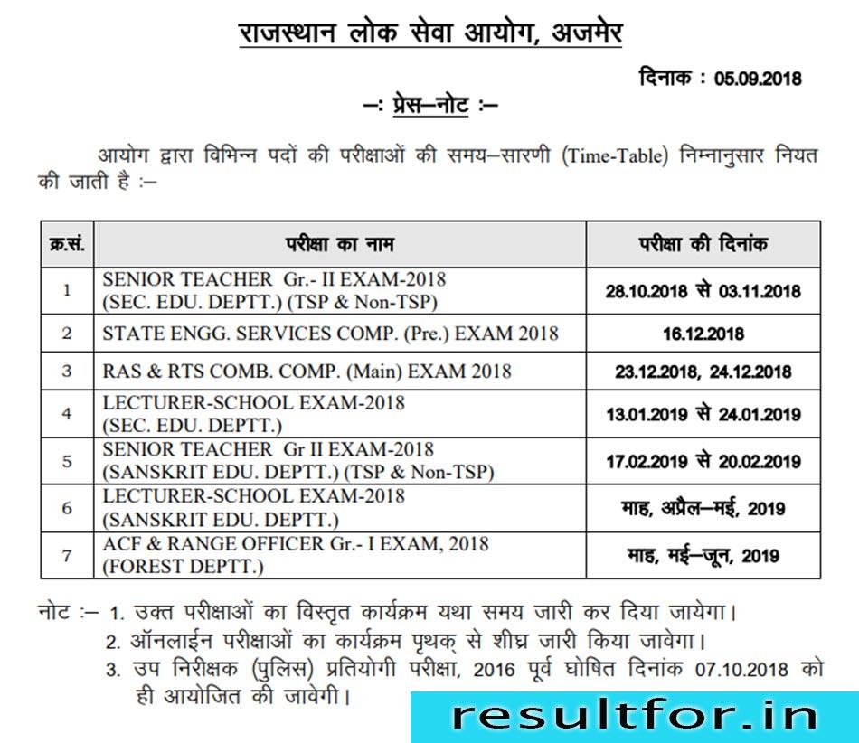 rajasthan psc exam date sheet 2018 19 for teacher