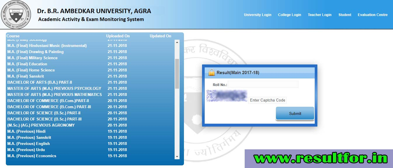 agra university part 1 result 2018
