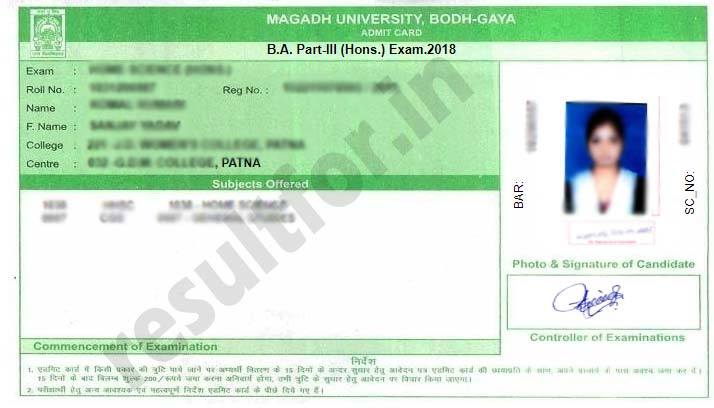 magadh university exam admit card part 3 december 2018