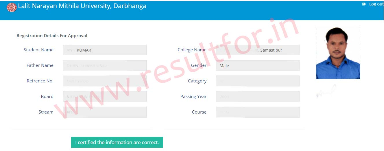 UG Degree course admission detail