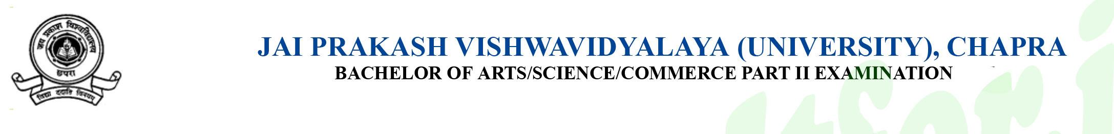 JAI-PRAKASH-VISHWAVIDYALAYA-TDC-Part-II-Exam-Form-2018
