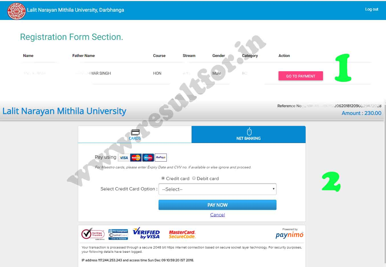 lnmu part 1 registration fee pay
