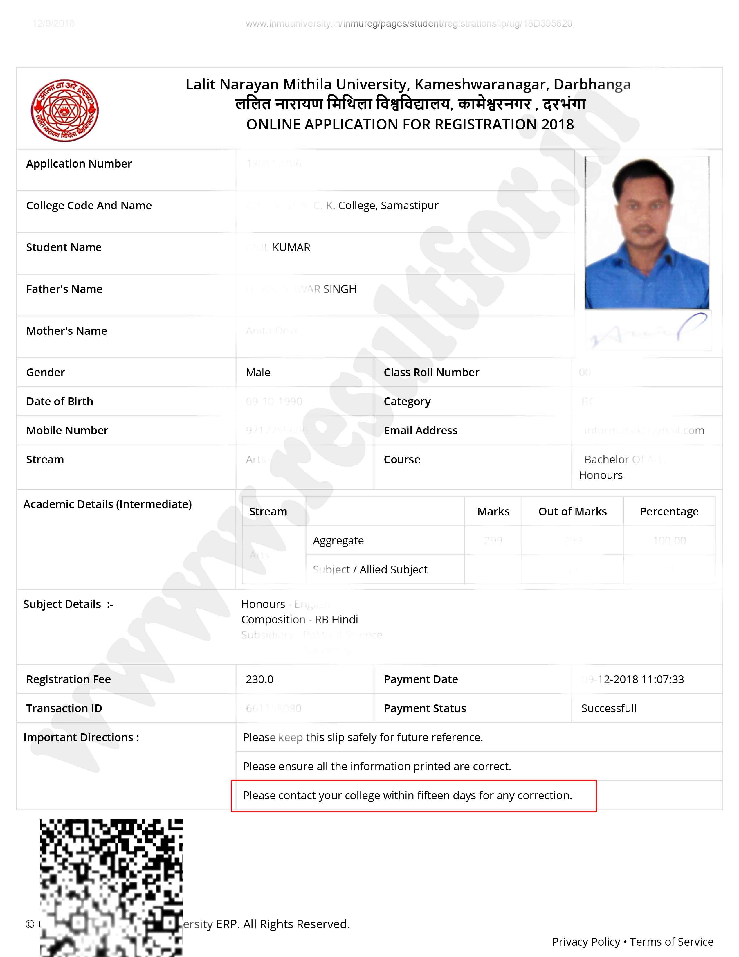 lnmu part 1 registration slip for submit in college