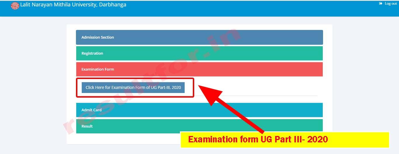 lnmu ug part 3 exam form fill up 2020 links