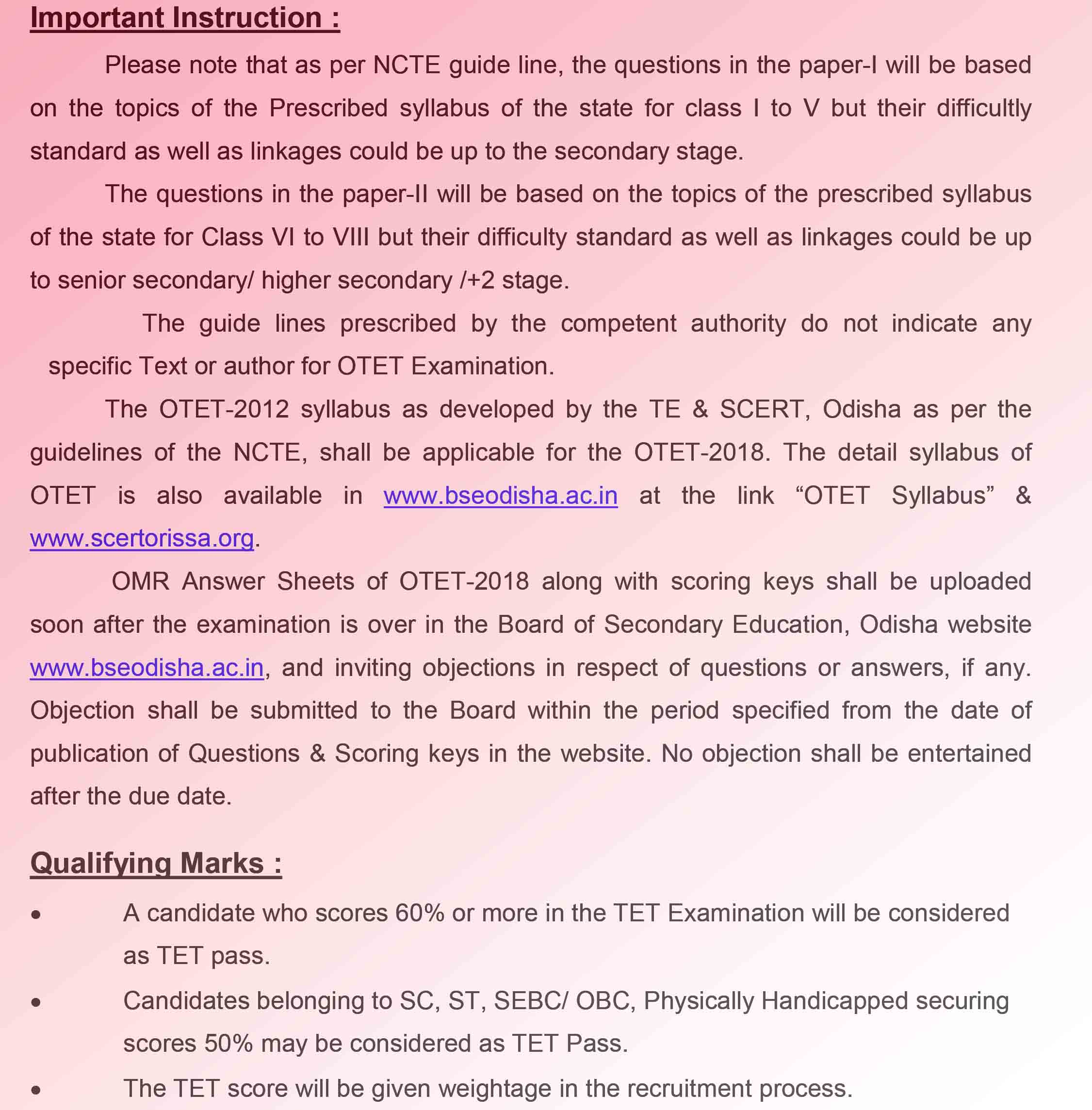 otet syllabus 2018 rules and update