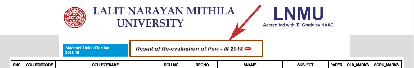 LNMU Part-3 Revaluation Result 2018 BA-B.SC-B.Com,  LNMU Part 3 Scrutiny Result 2018,  LNMU Rechecking Result part 3,   LNMU Scrutiny Result 2018 Ba BSC Part 3, LNMU Part 3 Scrutiny result online,  lnmu result,   lnmu part 3 result 2018 of scrutiny,   lnmu result 2018,   LNMU Part 3 2015-18 Scrutiny result,