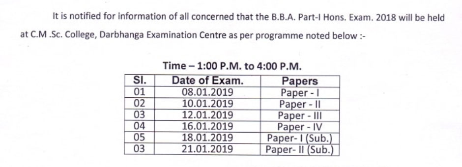 LNMU BCA Exam Program 2019