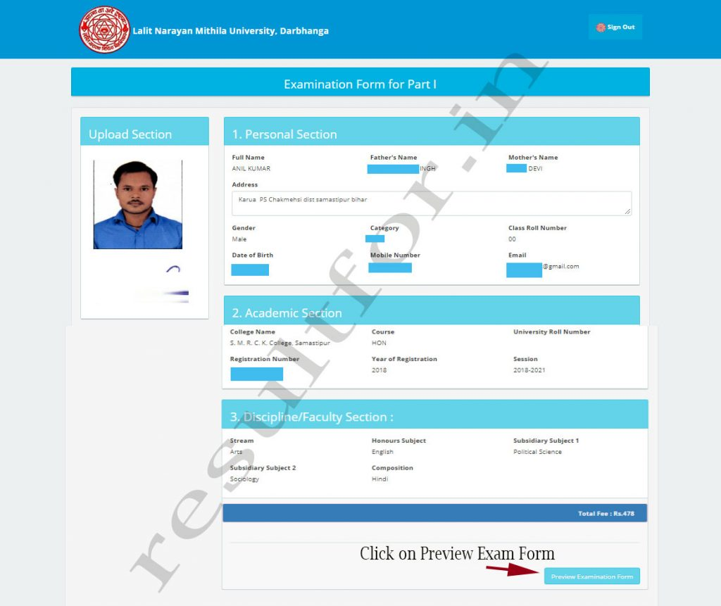 LNMU UG part 1 Exam Form apply 2019