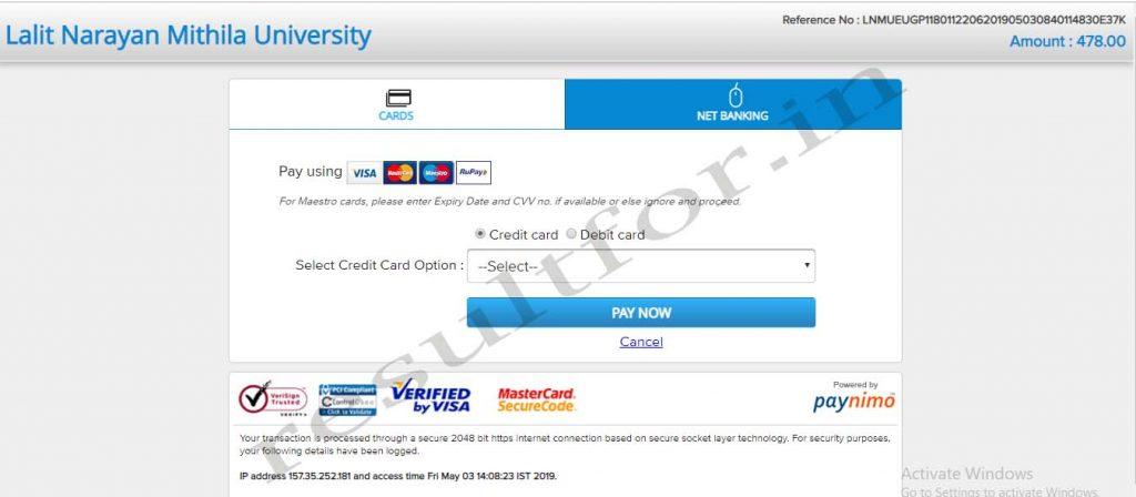 lnmu ug part 1 exam fee 2019 payment option