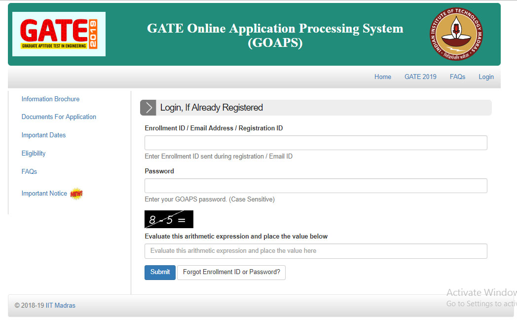 GATE 2019 Updates