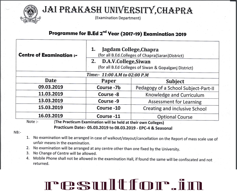 jpu bed exam part 2 2017-19 date sheet