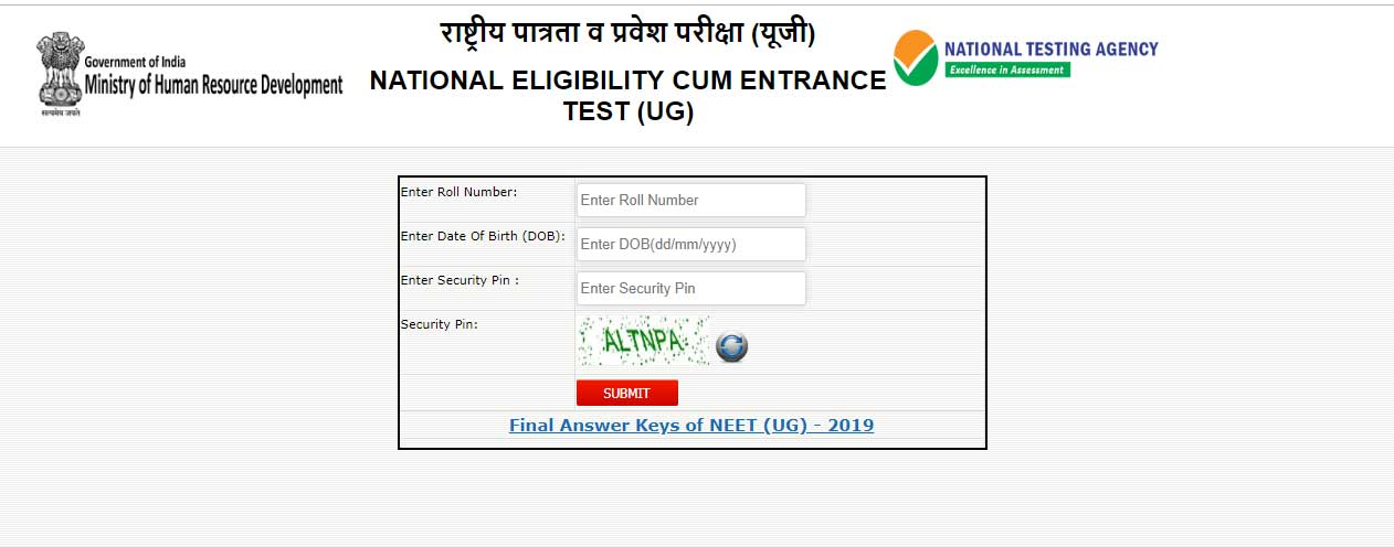 NEET UG Result 2019 Declared Check Here