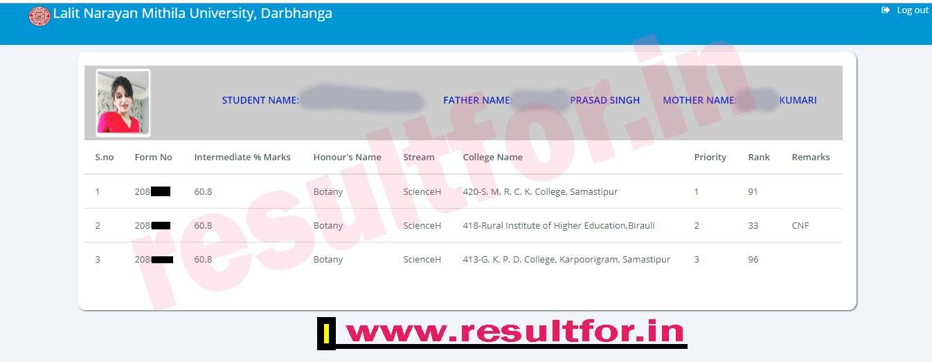 lnmu ug admission merit list 2019 status revise