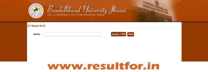 Bundelkhand University Entrance Test Result 2019 | resultfor in