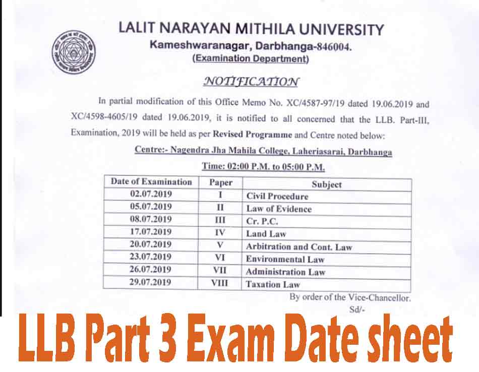 lnmu llb part 3 exam date sheet 2019