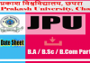 jpu tdc part 2 exam date sheet download