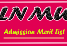 merit list admission lnmu