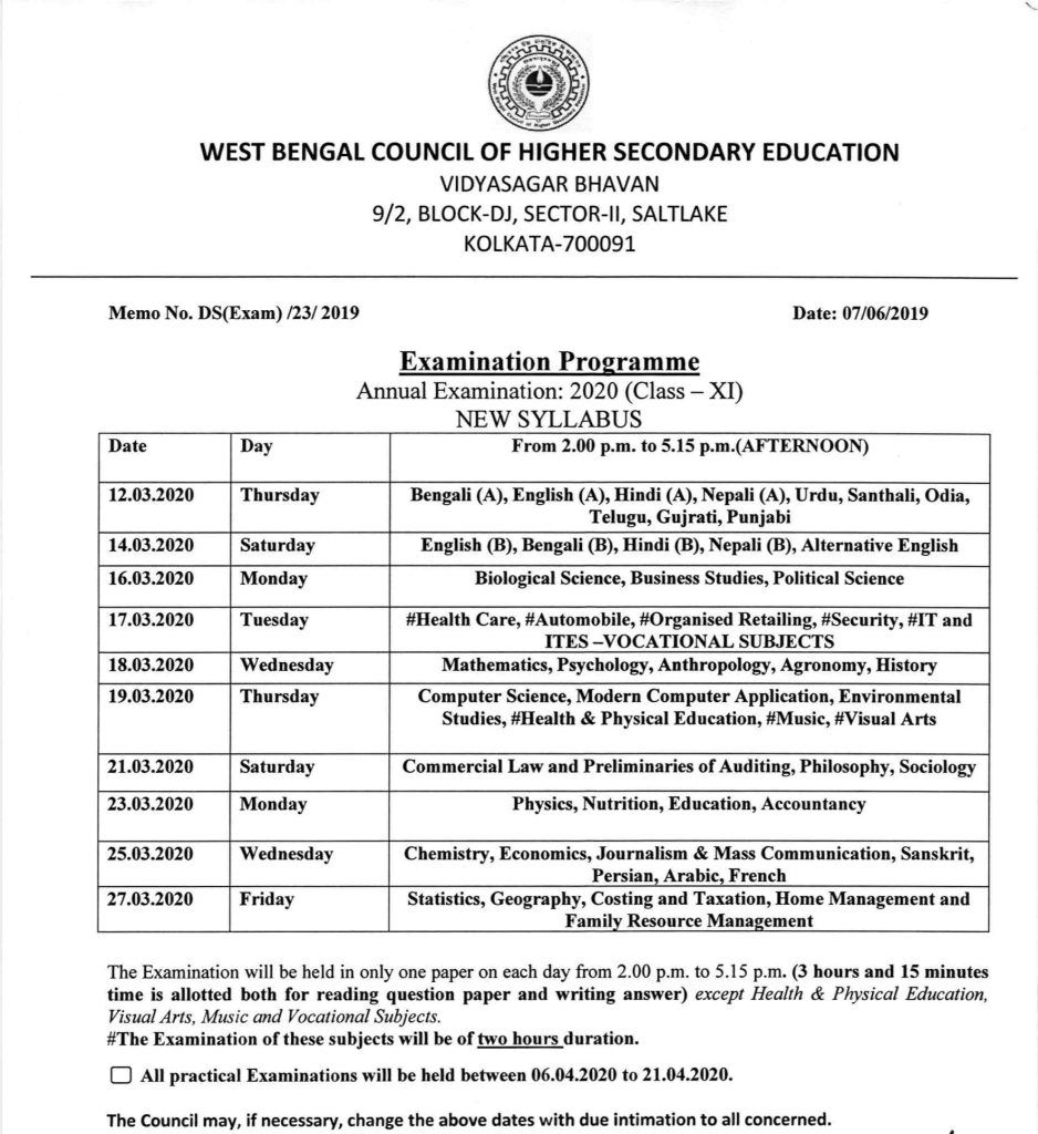 West Bengal Board 11th Exam Date sheet 2020