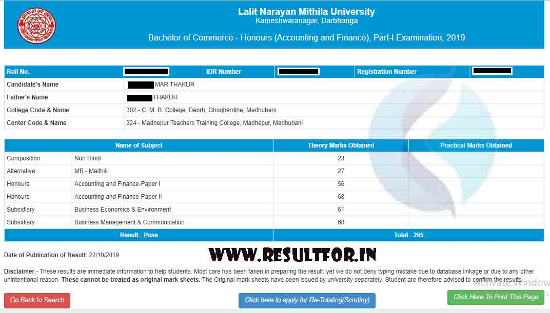 lnmu bcom result 2019